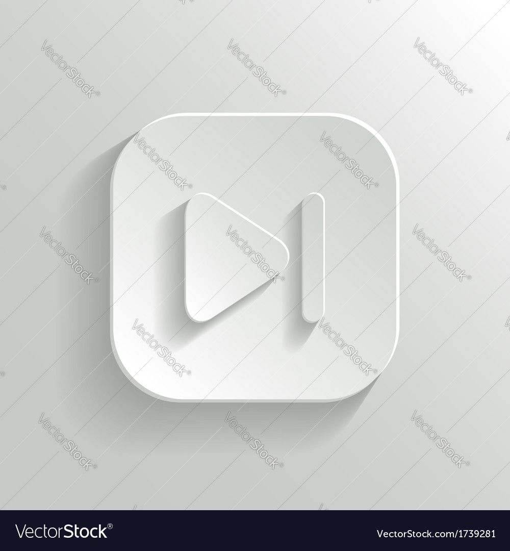 Media player icon - white app button vector | Price: 1 Credit (USD $1)