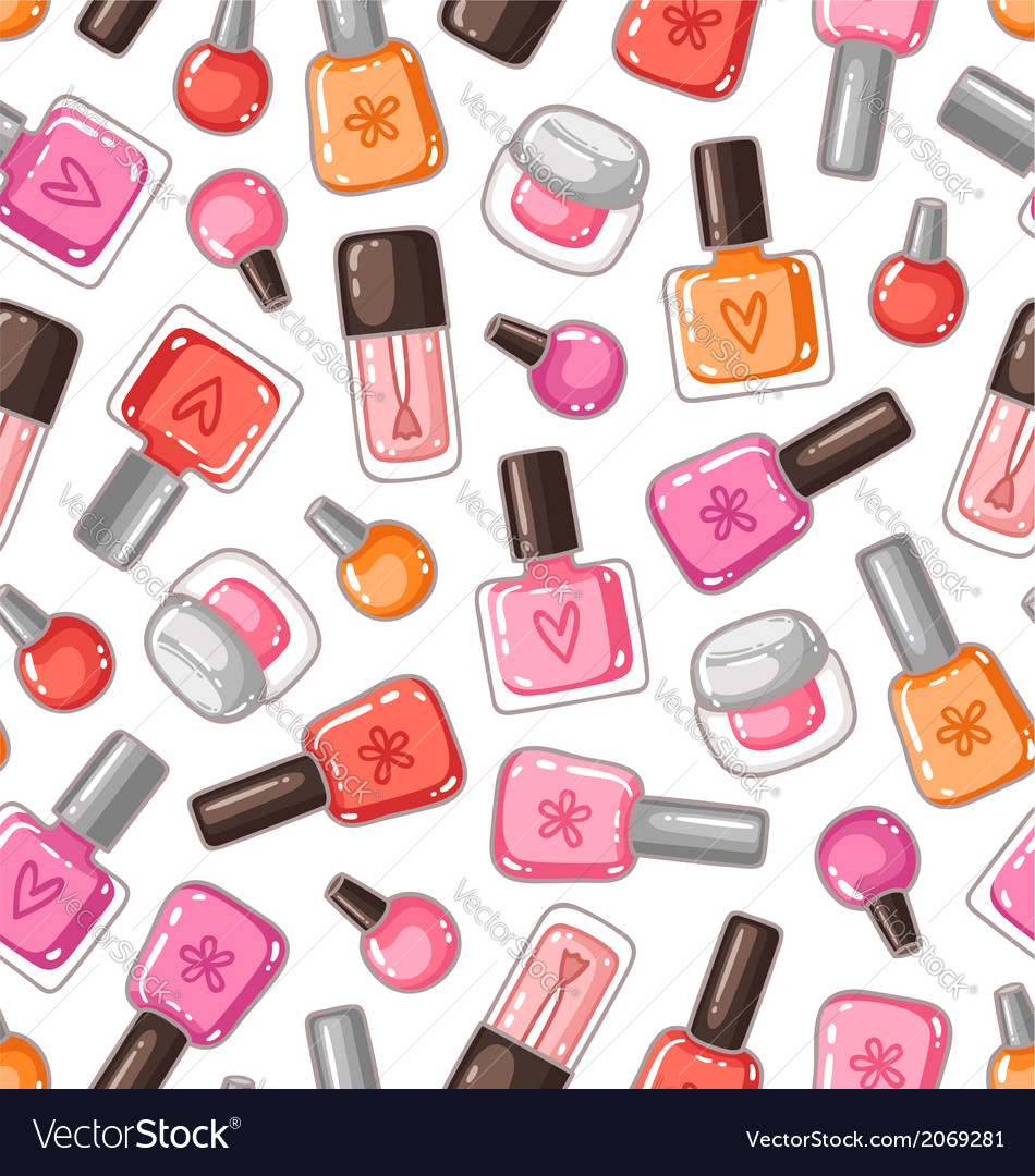 Nail polish seamless pattern vector | Price: 1 Credit (USD $1)