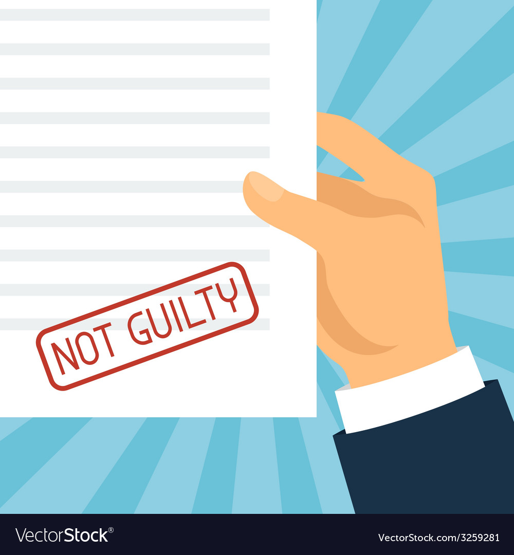 Not guilty concept hand holding paper with stamp vector | Price: 1 Credit (USD $1)
