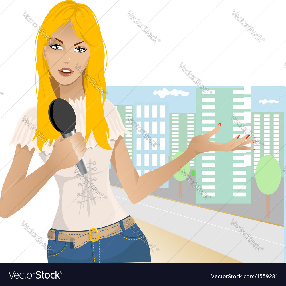 Reporter girl vector | Price: 3 Credit (USD $3)