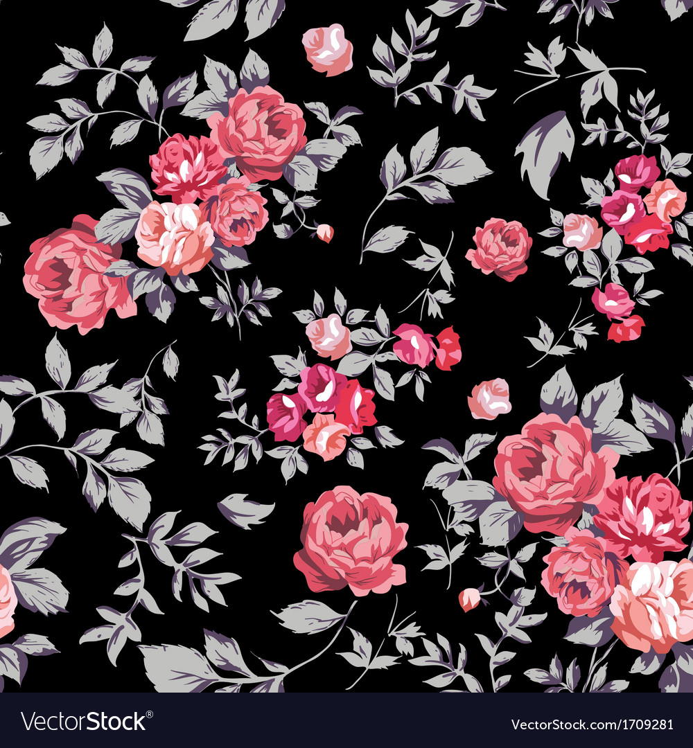 Rose seamless pattern pink black vector | Price: 1 Credit (USD $1)