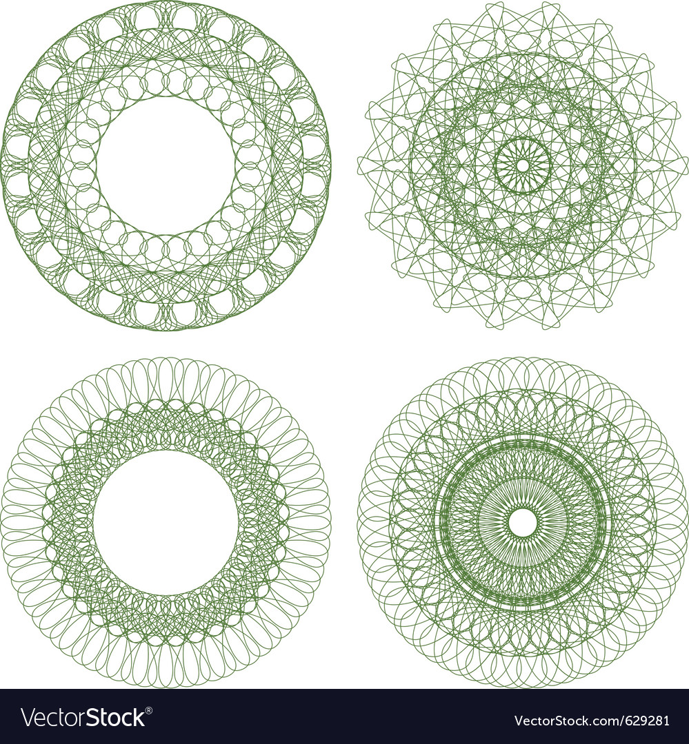 Set of guilloche rosettes vector | Price: 1 Credit (USD $1)