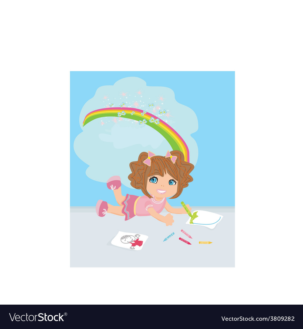 A girl drawing a rainbow thinking about her work vector | Price: 1 Credit (USD $1)