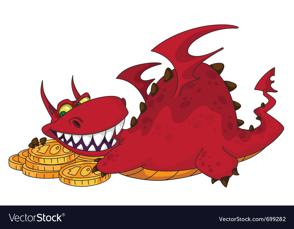 Big dragon with money vector | Price: 3 Credit (USD $3)