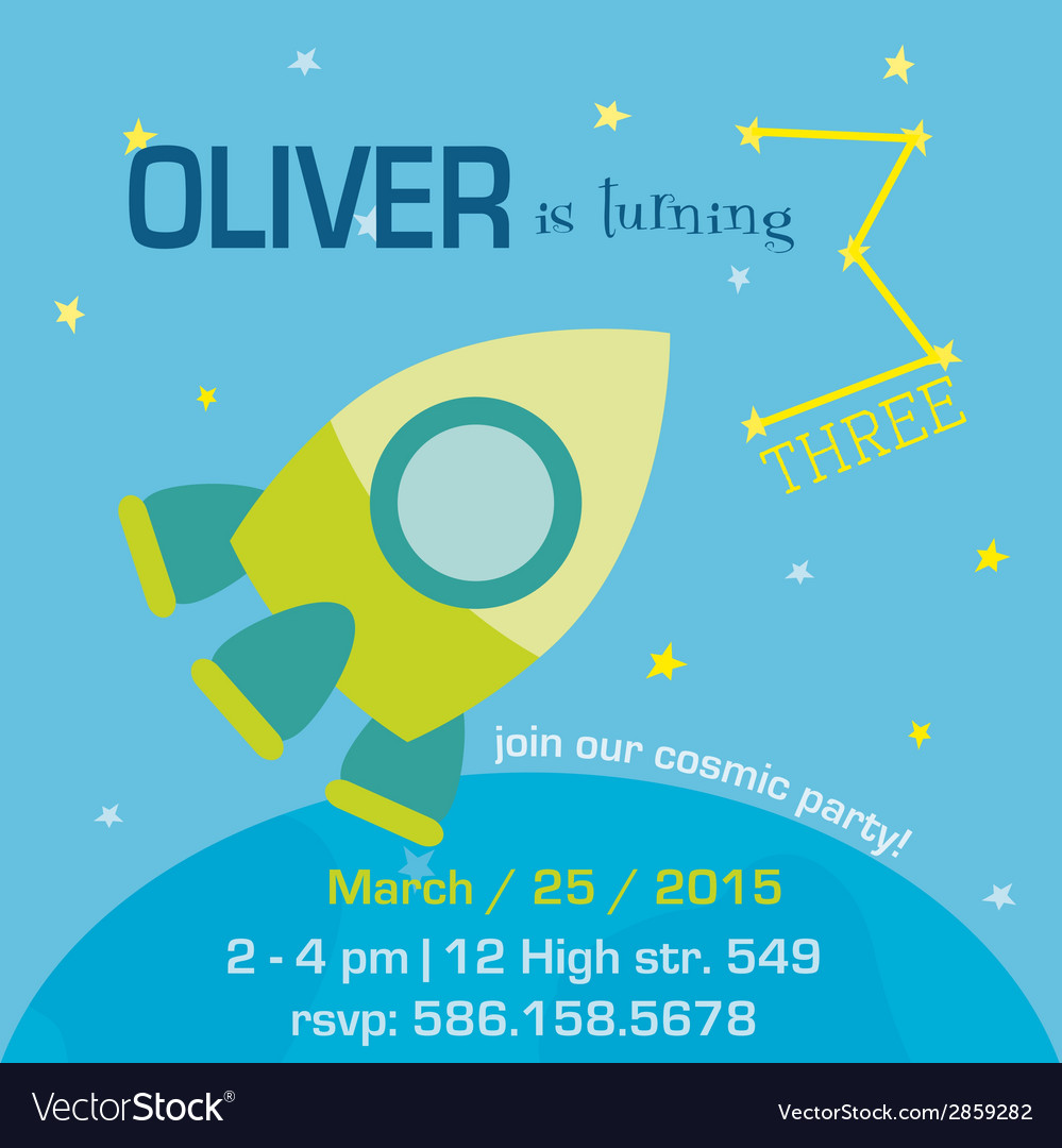Birthday invitation card - space and rocket theme vector | Price: 1 Credit (USD $1)