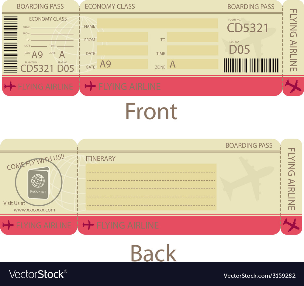Boarding pass design template vector | Price: 1 Credit (USD $1)