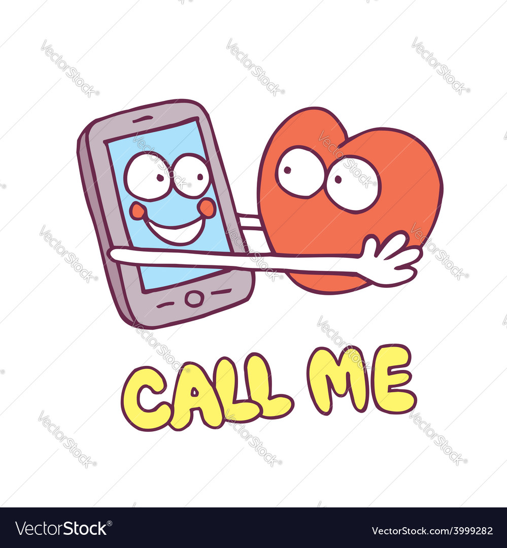 Call me mobile phone heart cartoon characters vector | Price: 1 Credit (USD $1)