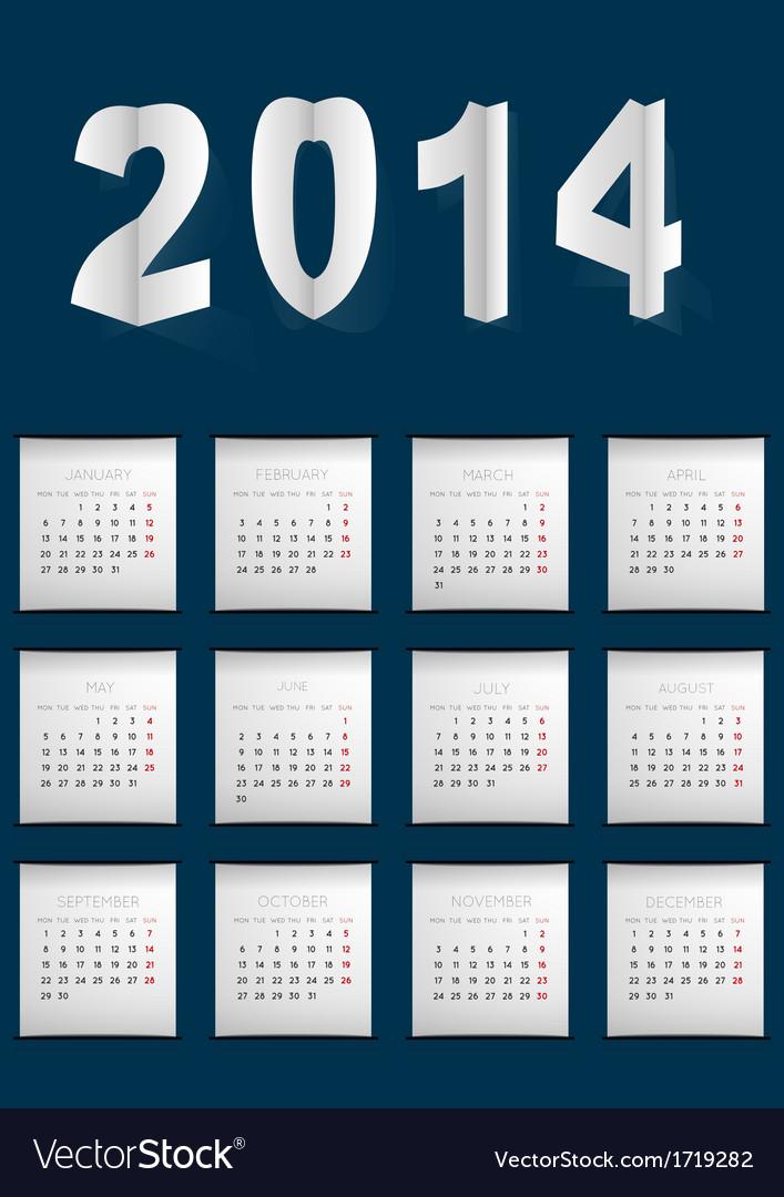 Dark blue calendar for 2014 vector | Price: 1 Credit (USD $1)