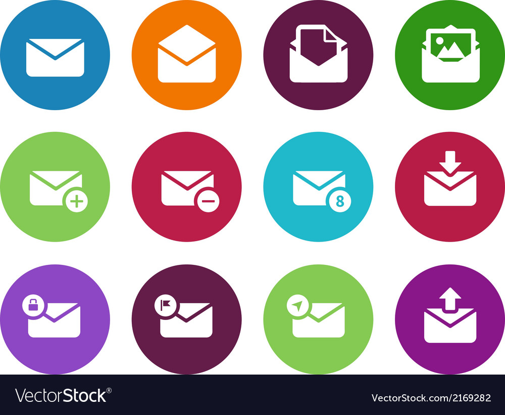 Email circle icons on white background vector | Price: 1 Credit (USD $1)
