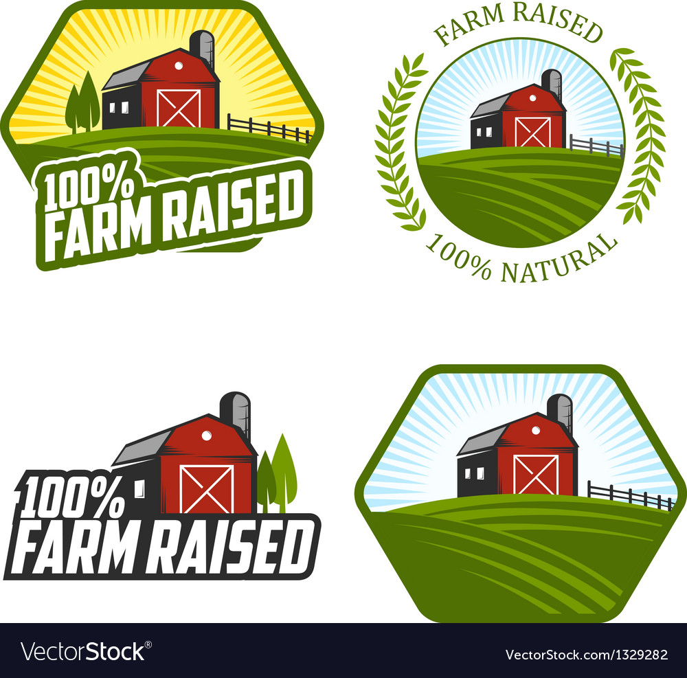 Farm raised labels and badges vector | Price: 1 Credit (USD $1)