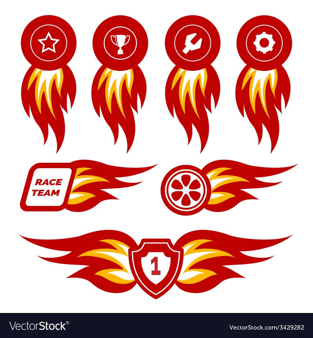 Flame emblems vector