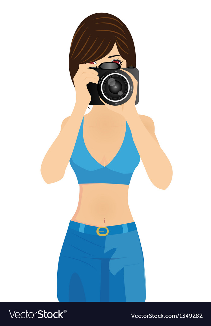 Girl with camera vector | Price: 1 Credit (USD $1)