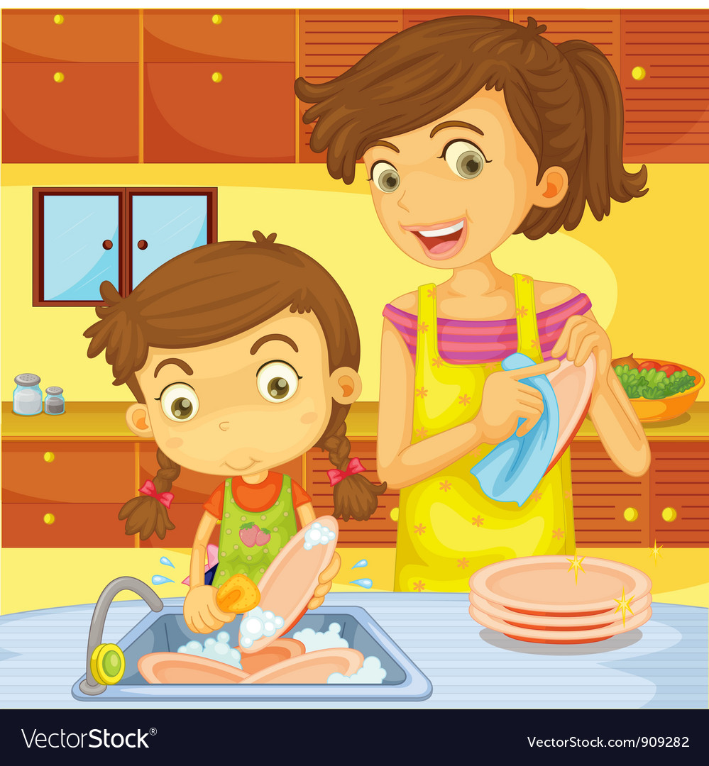 Helping at home vector | Price: 3 Credit (USD $3)
