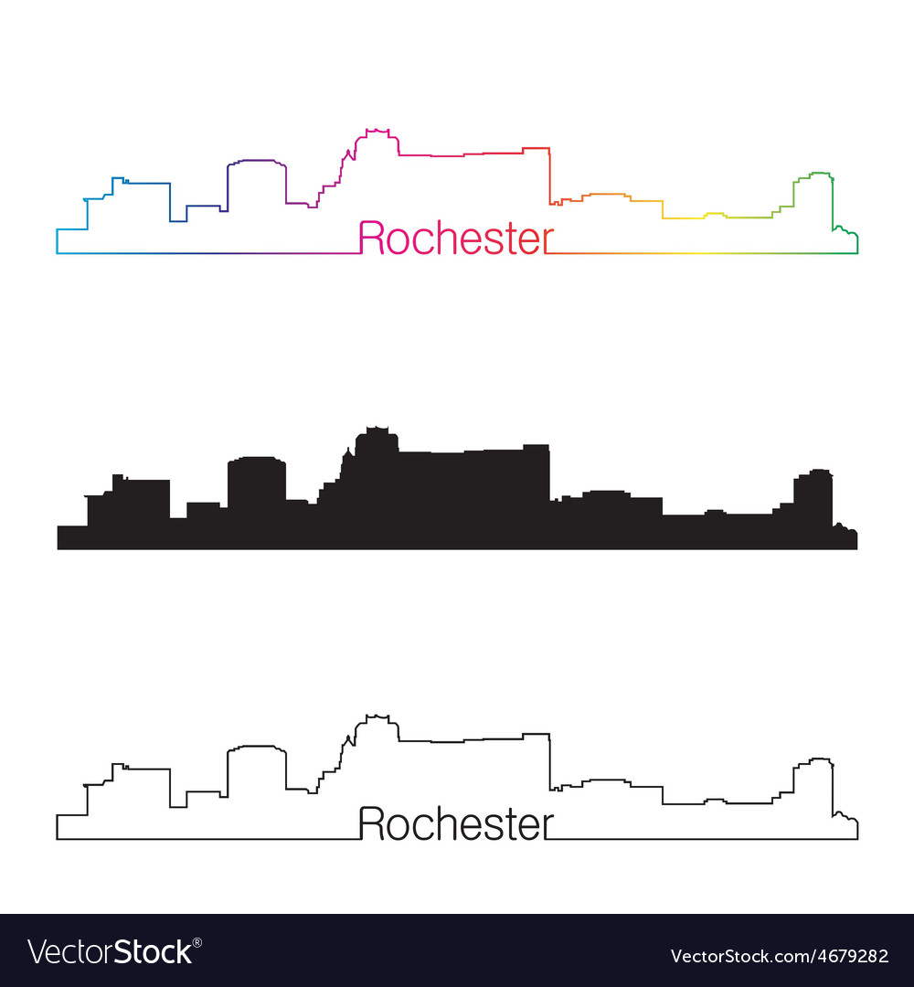 Rochester skyline linear style with rainbow vector | Price: 1 Credit (USD $1)