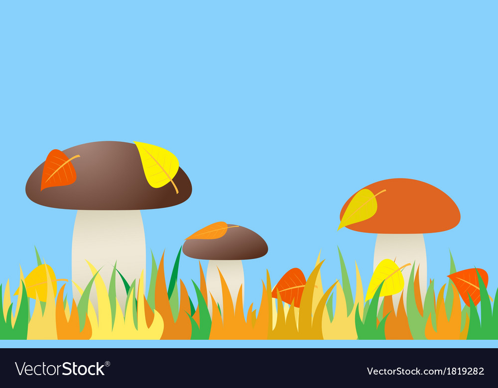 Seamless of mushroom in grass vector | Price: 1 Credit (USD $1)