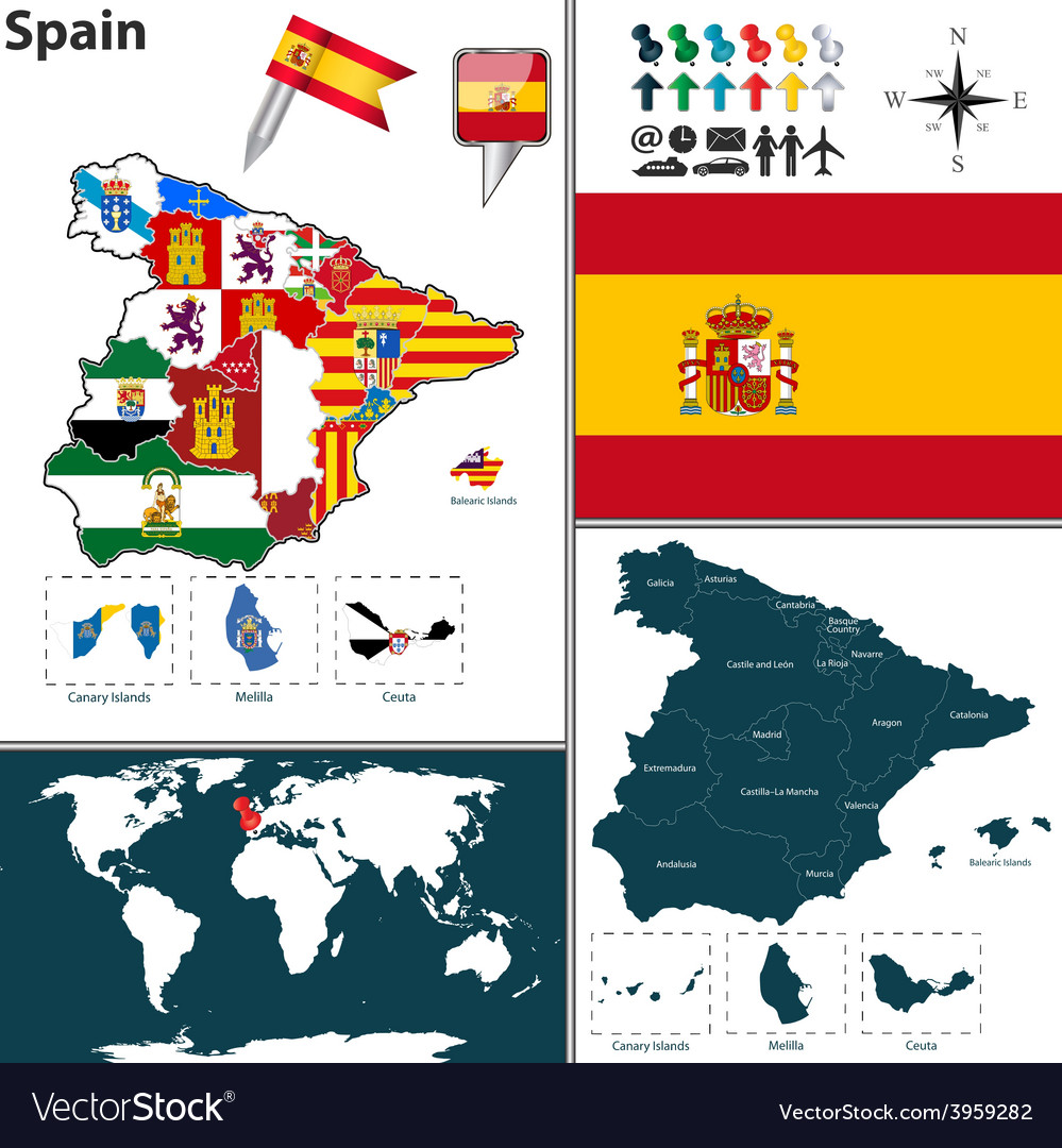 Spain map with regions and flags vector | Price: 1 Credit (USD $1)