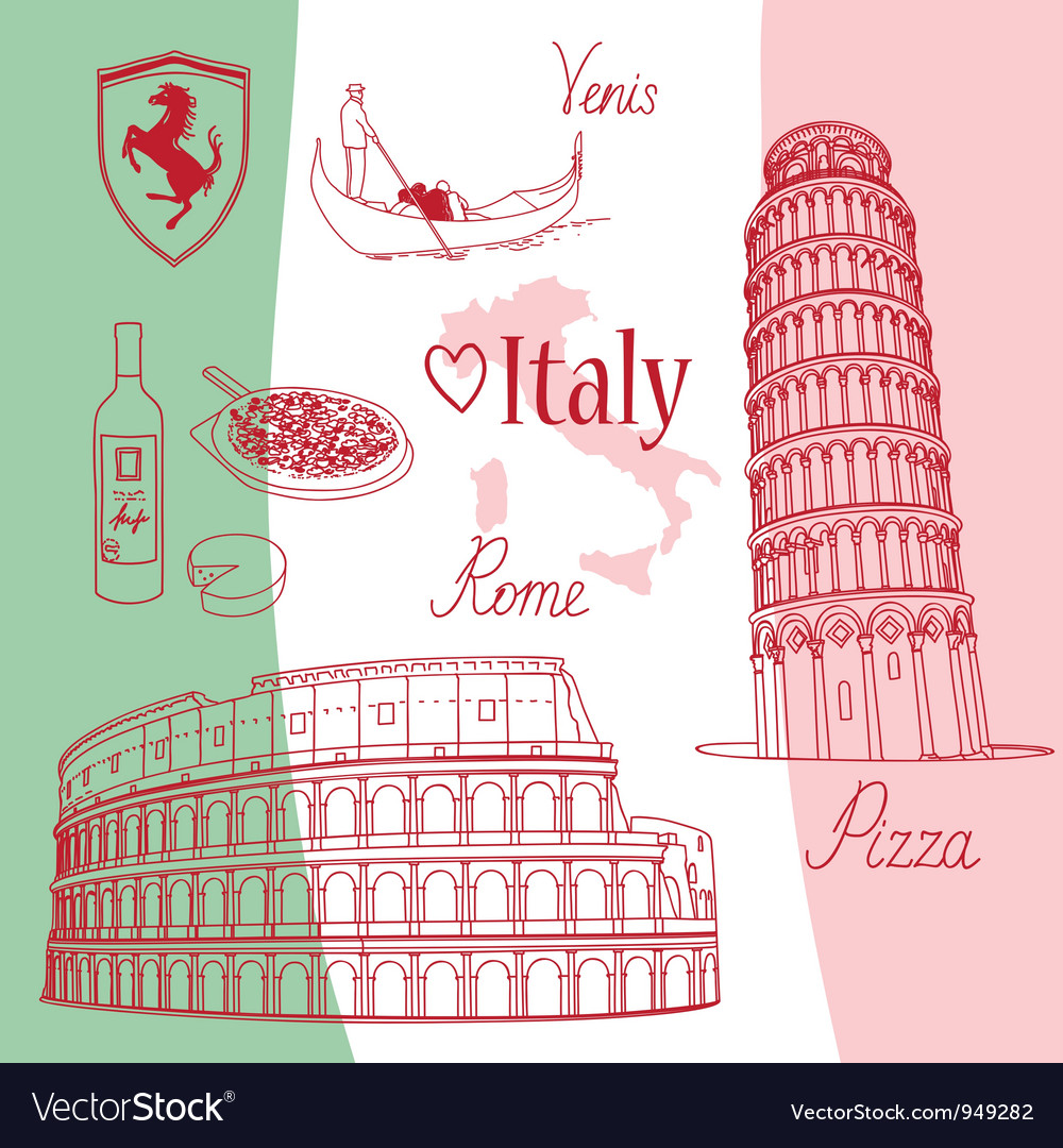 Symbols of italy vector | Price: 1 Credit (USD $1)