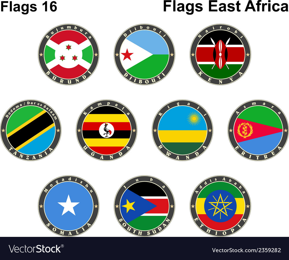 World flags east africa vector | Price: 1 Credit (USD $1)