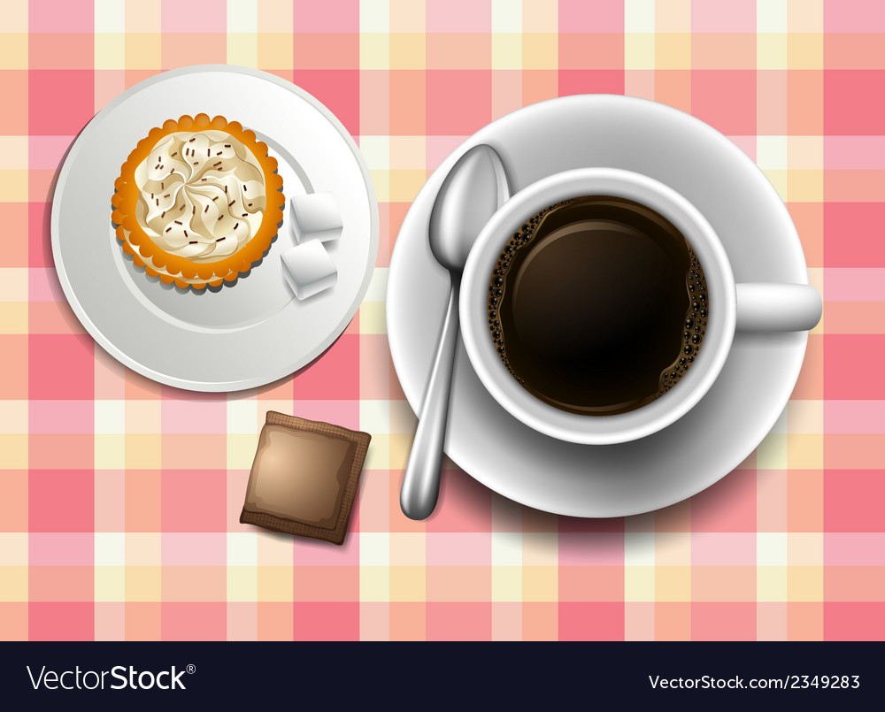 A topview of a table with a coffee cookie and a vector | Price: 1 Credit (USD $1)