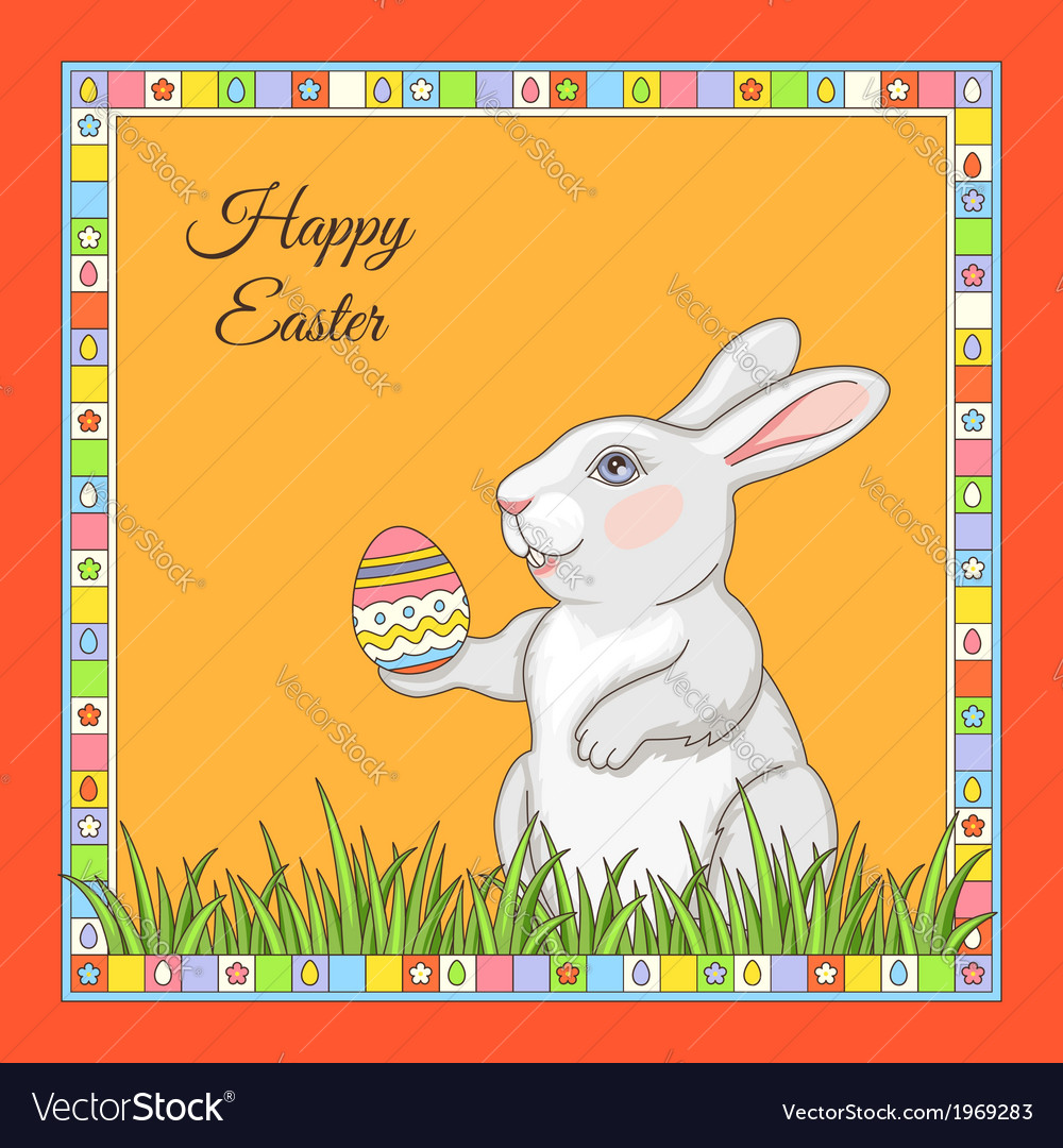 Cartoon rabbit frame vector | Price: 1 Credit (USD $1)