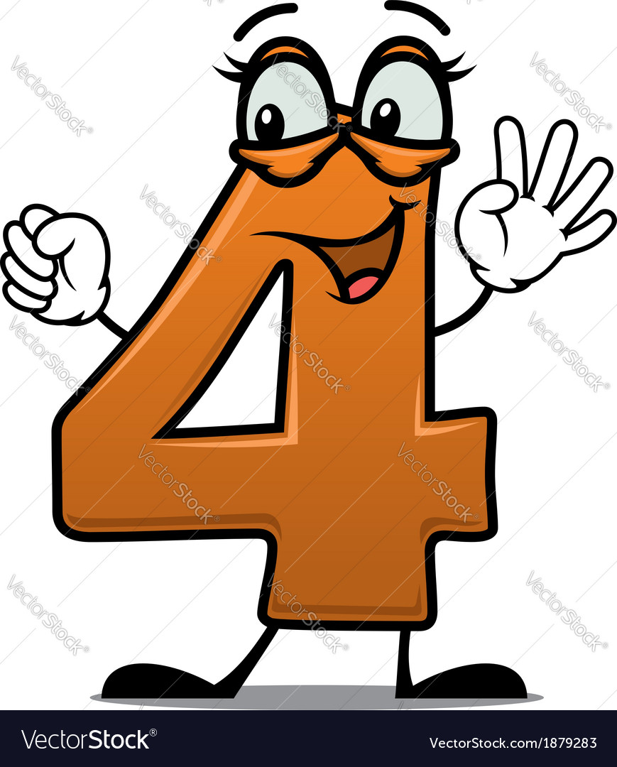 Excited happy number 4 vector | Price: 1 Credit (USD $1)
