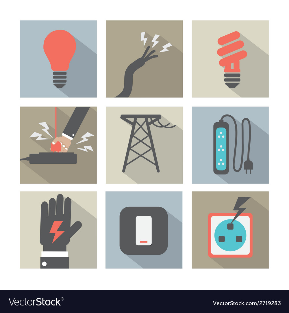 Flat design electricity power icons set vector | Price: 1 Credit (USD $1)