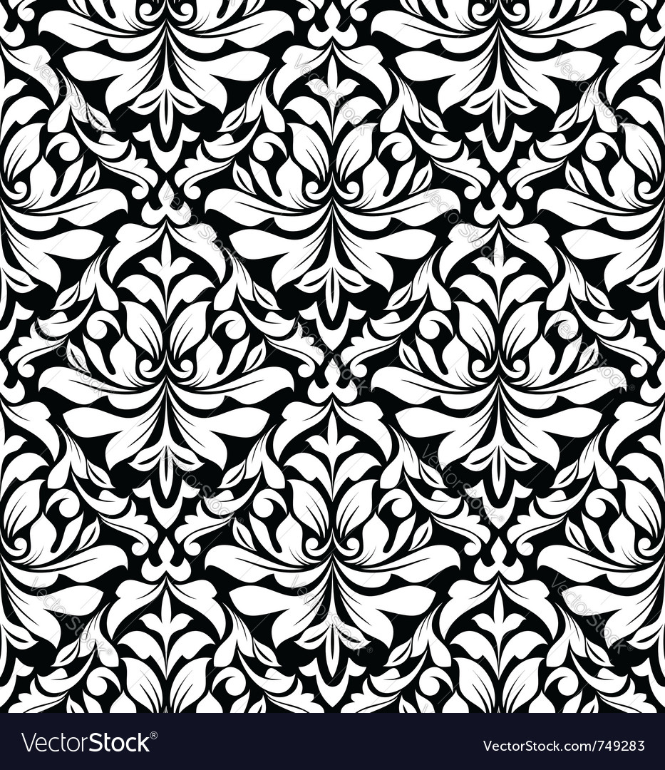 Floral seamless damask pattern in white and black vector | Price: 1 Credit (USD $1)