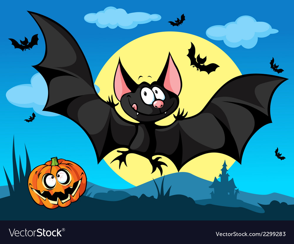 Halloween picture with pumpkin cute bats and moon vector | Price: 1 Credit (USD $1)