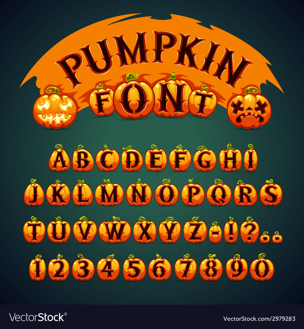 Halloween pumpkin font vector | Price: 1 Credit (USD $1)