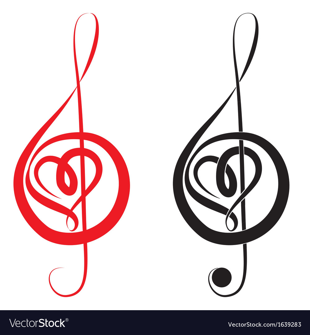 Heart of treble clef and bass clef vector | Price: 1 Credit (USD $1)