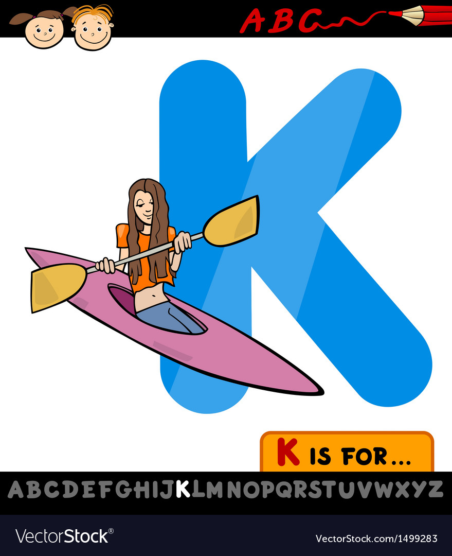 Letter k with kayak cartoon vector | Price: 1 Credit (USD $1)