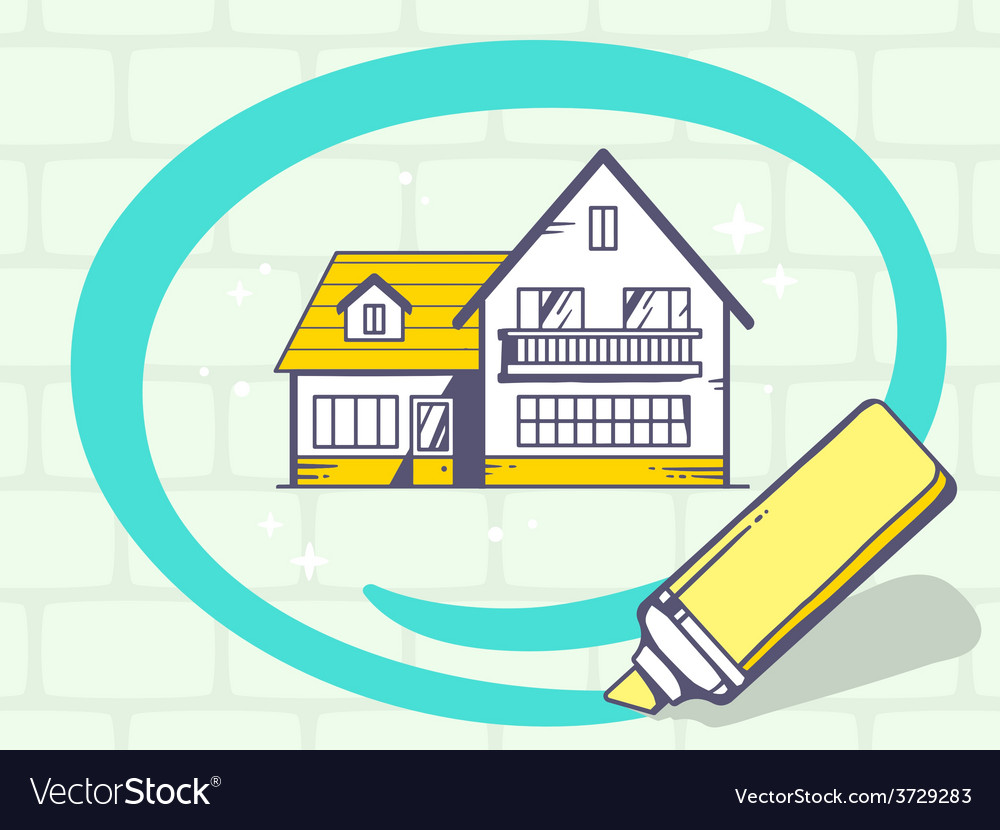 Marker drawing circle around home on gray vector | Price: 1 Credit (USD $1)
