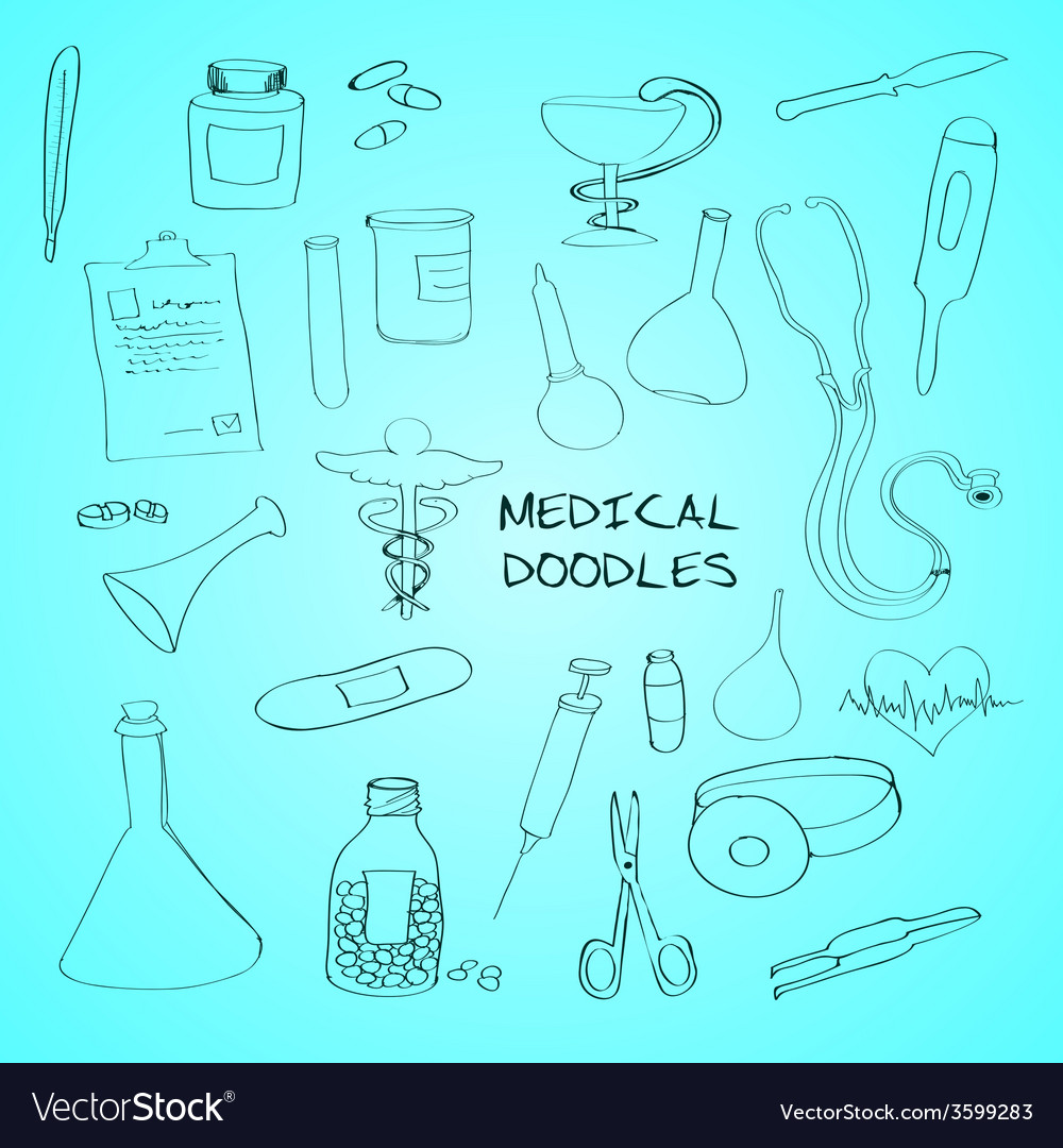 Medical symbols emblems doodle set vector | Price: 1 Credit (USD $1)
