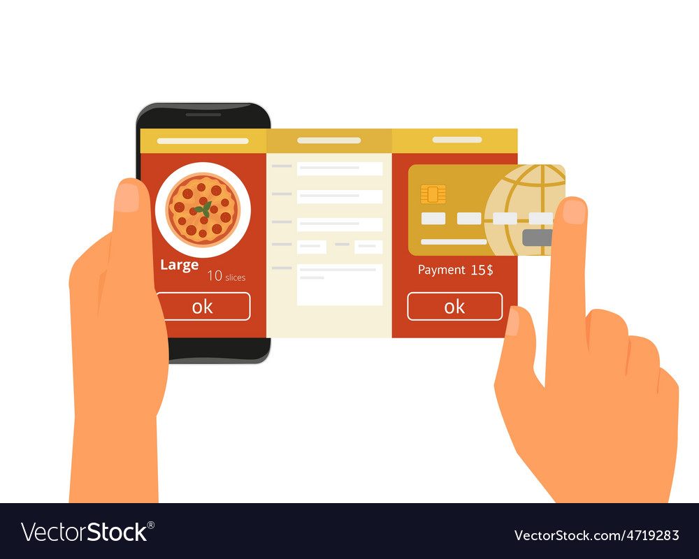 Mobile app for ordering pizza vector | Price: 1 Credit (USD $1)