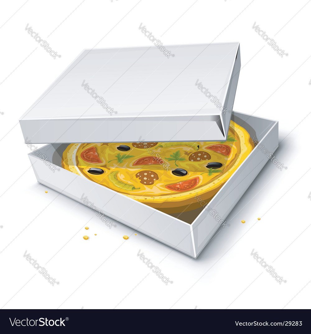 Paper box with pizza illustration vector | Price: 3 Credit (USD $3)