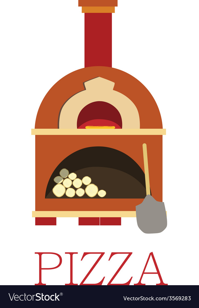 Pizza oven with text pizza vector | Price: 1 Credit (USD $1)