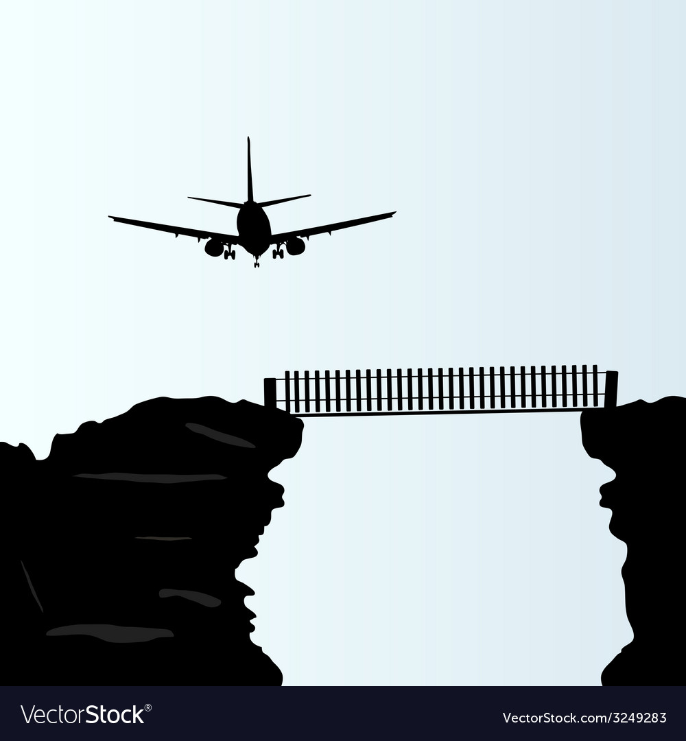 Plane above the bridge on the cliff vector | Price: 1 Credit (USD $1)