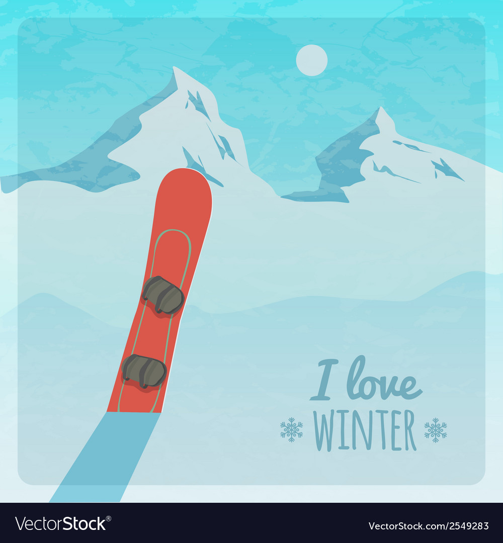 Retro with snowy mountains and snowboard vector | Price: 1 Credit (USD $1)