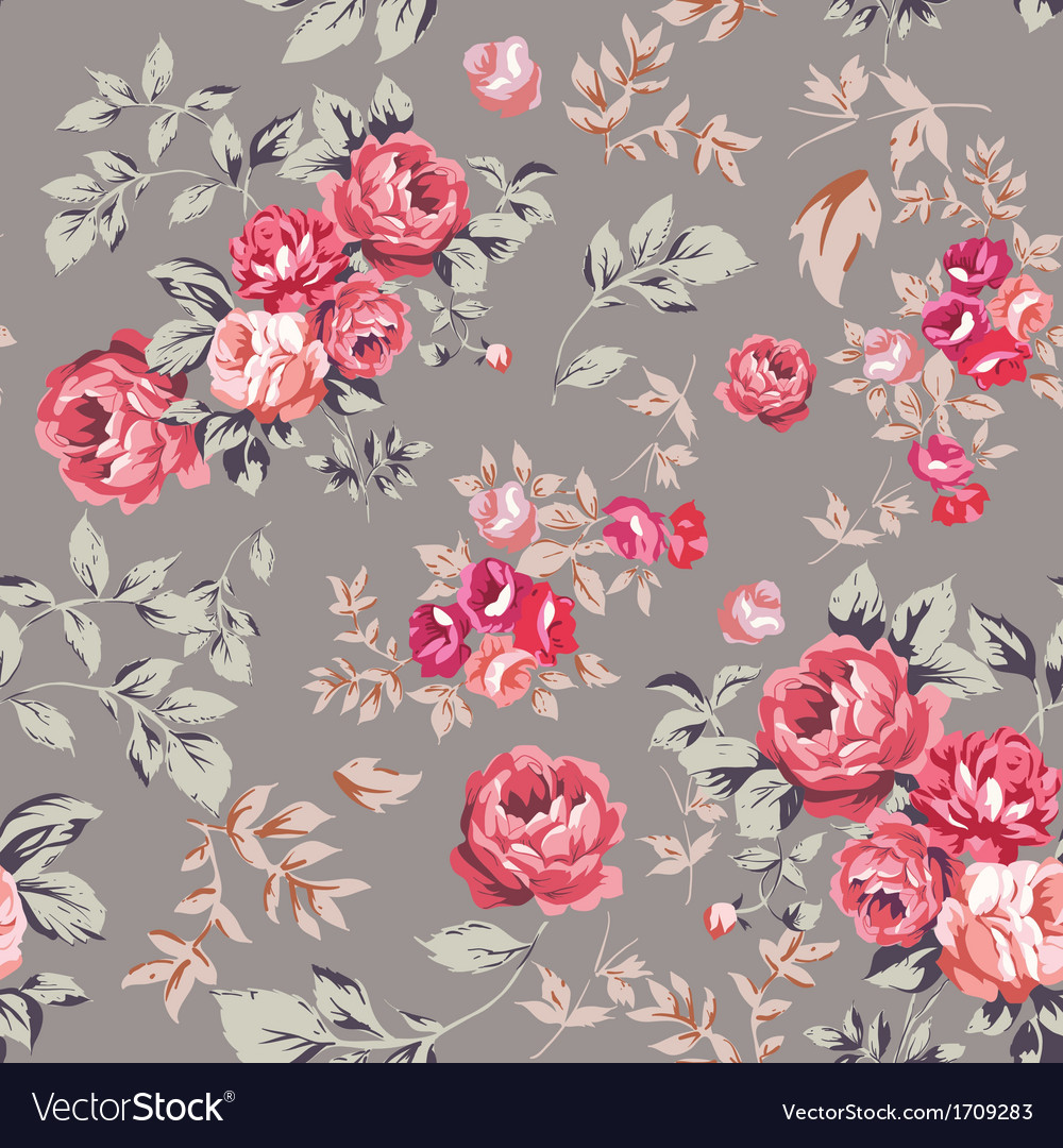 Rose seamless pattern pink brown vector | Price: 1 Credit (USD $1)