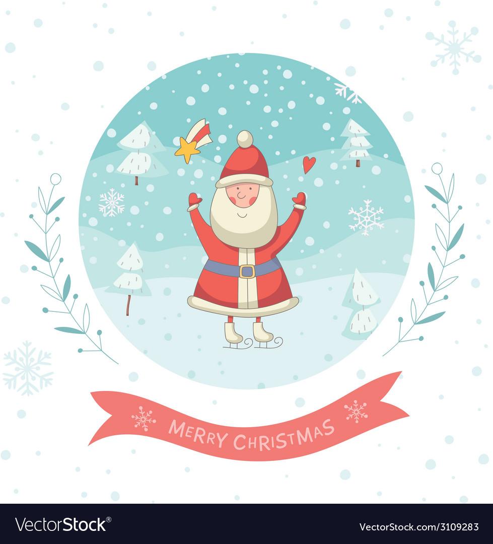 Santa claus greeting card vector | Price: 1 Credit (USD $1)
