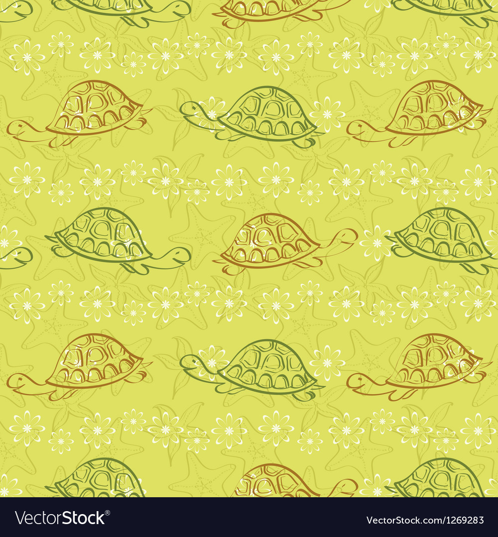 Seamless pattern turtles and starfishes vector | Price: 1 Credit (USD $1)