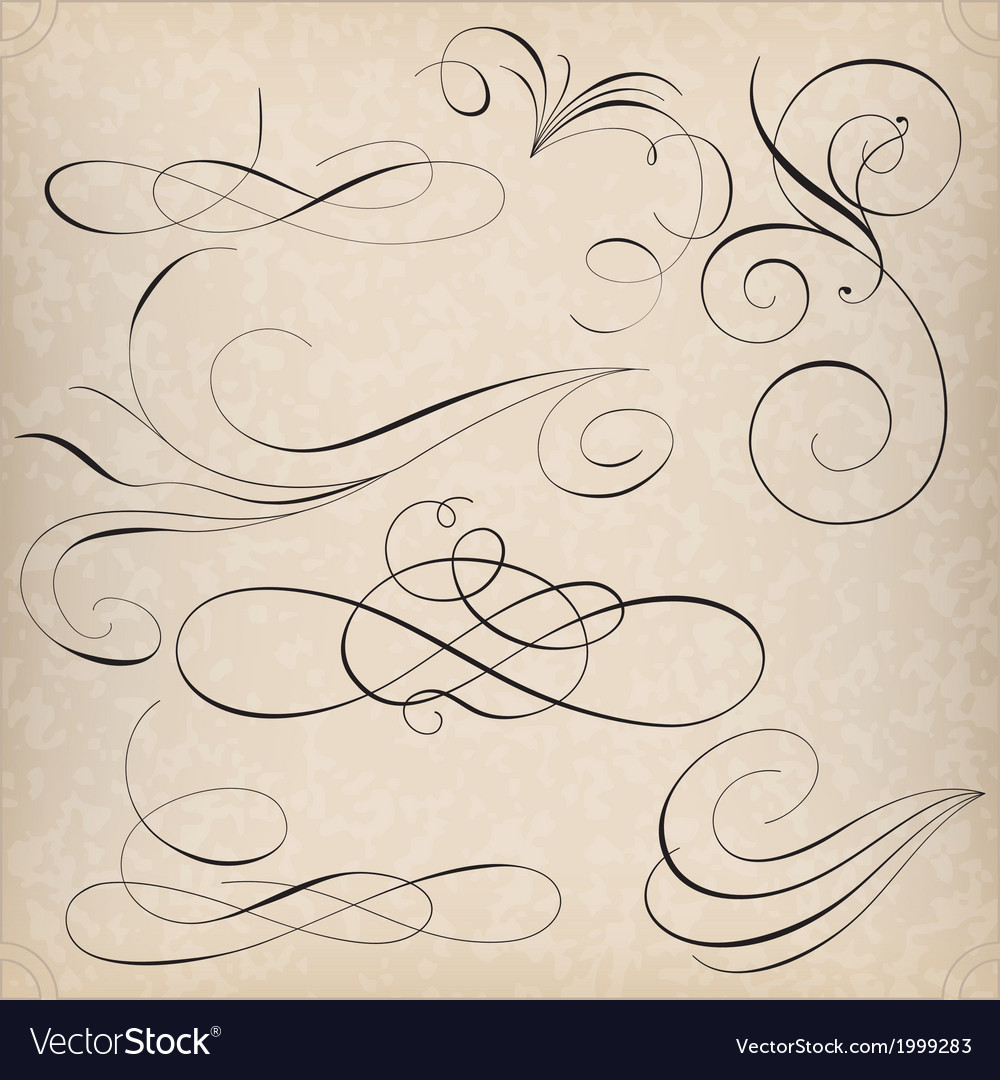 Set of calligraphy elemets vector | Price: 1 Credit (USD $1)