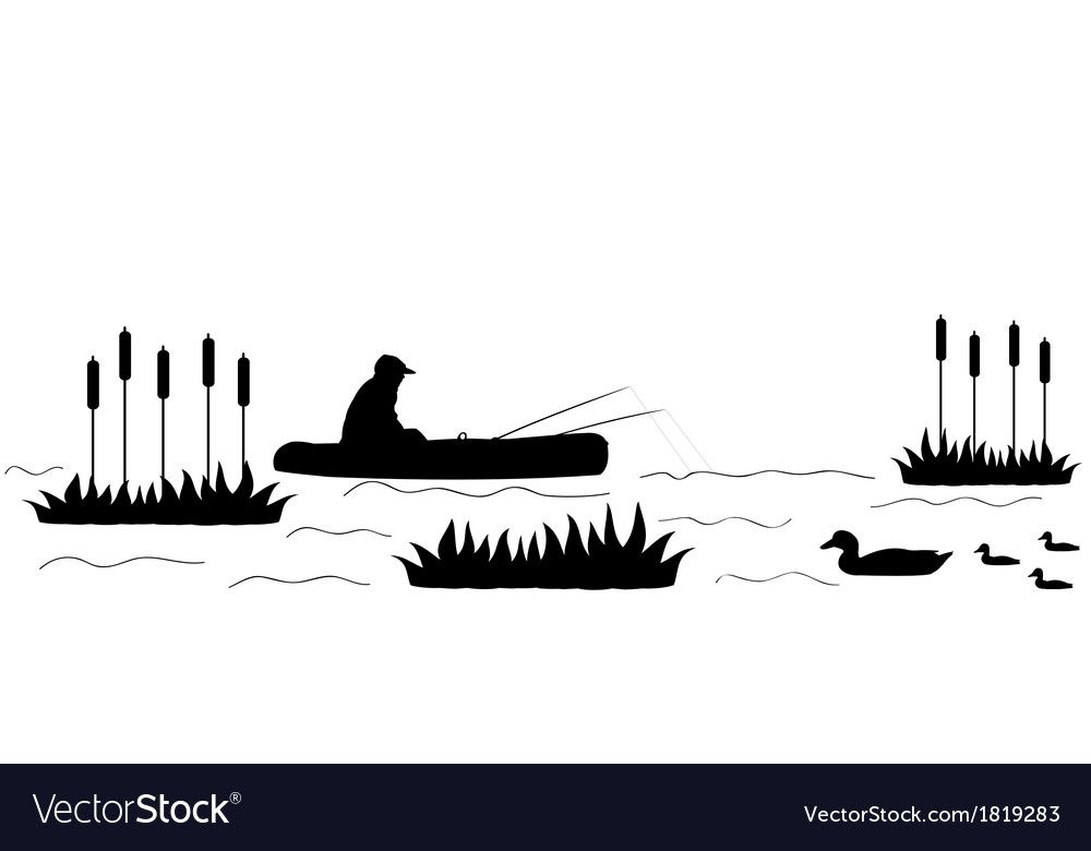 Silhouette the fisherman on the lake vector | Price: 1 Credit (USD $1)