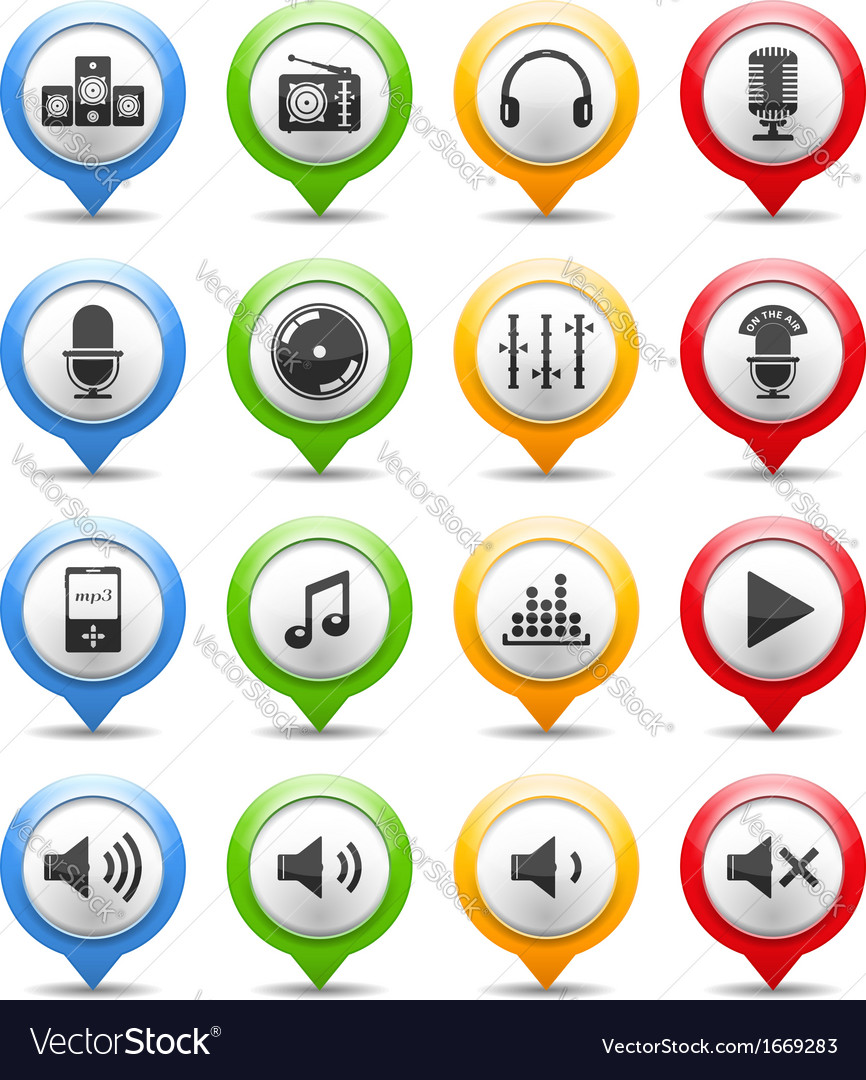 Sound and music icons vector | Price: 1 Credit (USD $1)