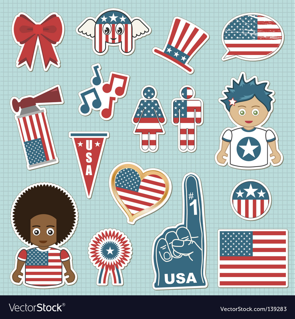 Usa supporter stickers vector | Price: 3 Credit (USD $3)