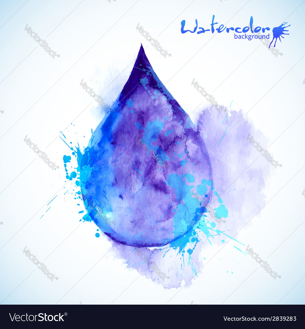 Watercolor painted blue drop vector | Price: 1 Credit (USD $1)