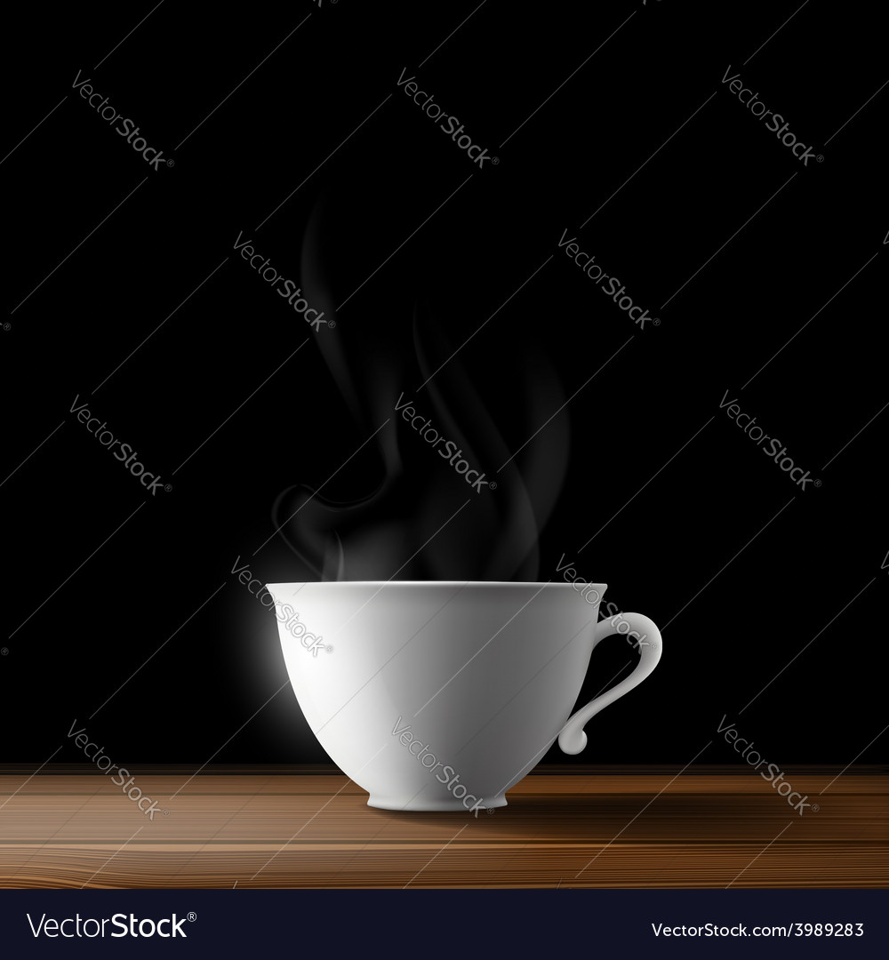 White cup on a wooden table vector   Price: 1 Credit (USD $1)