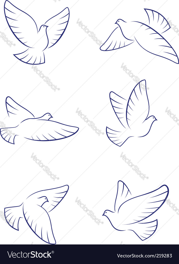 White doves vector | Price: 1 Credit (USD $1)