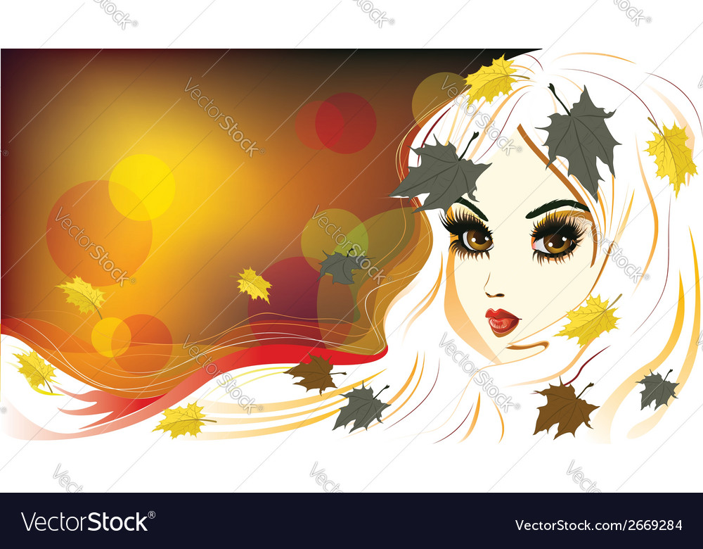 Autumn girl with white hair vector | Price: 1 Credit (USD $1)