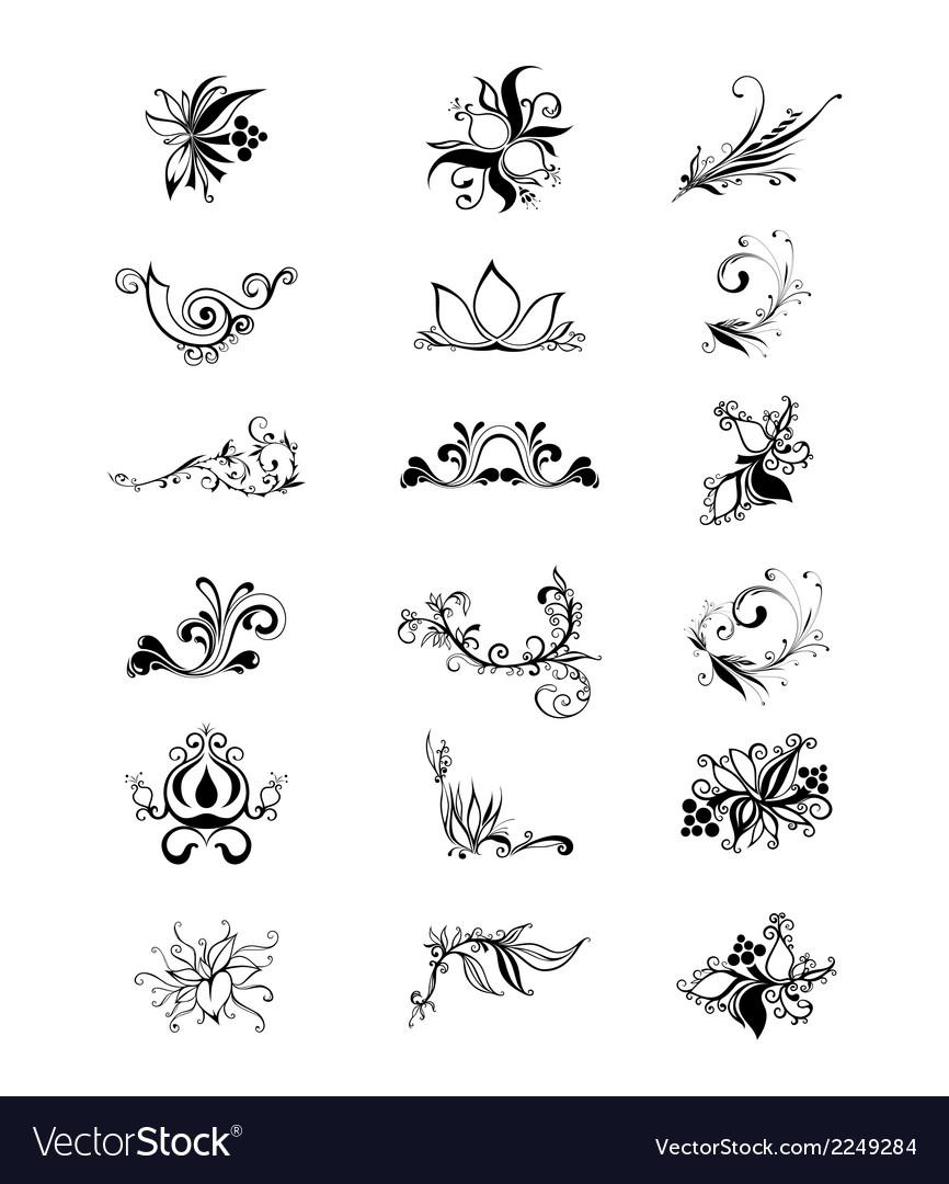 Download floral art design elements vector | Price: 1 Credit (USD $1)